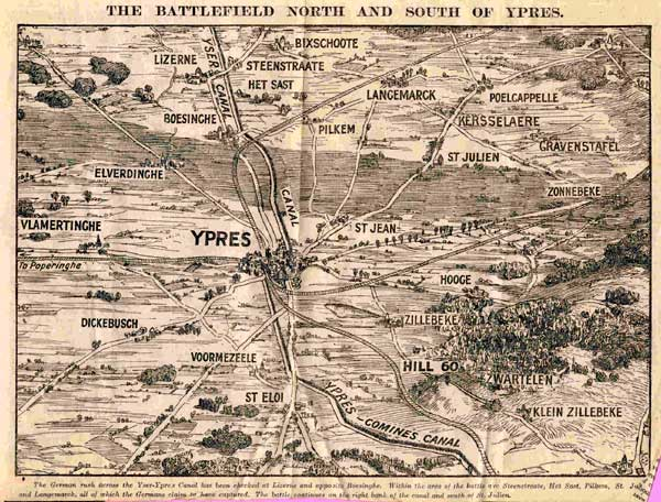 Map of the battlefield around Ypres